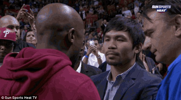 ICYMI: Mayweather and Pacquiao Meet At Half Court At NBA Game