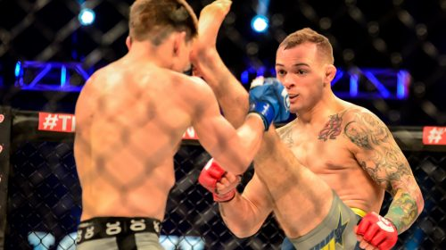 Matt Bessette front kicks Josh LaBerge at Bellator 134: British Invasion