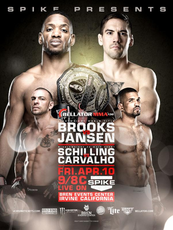 Bellator MMA Lightweight World Champion Will Brooks meets Dave Jansen on April 10 at Bren Events Center in Irvine, Calif.