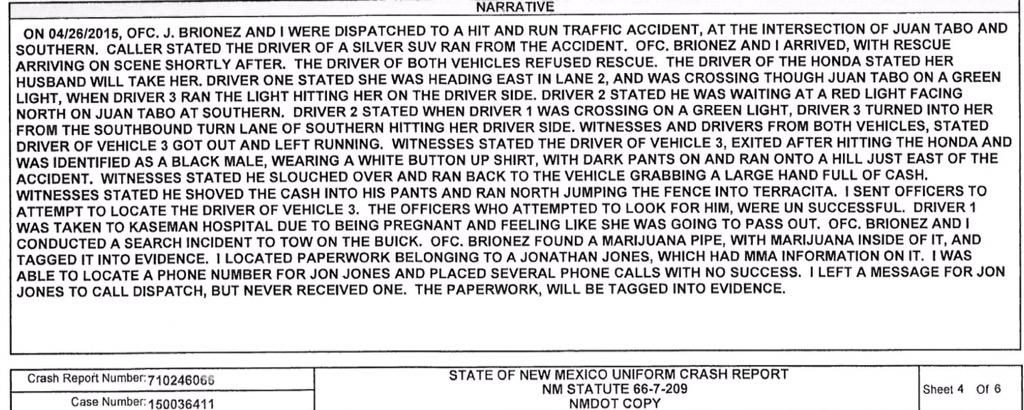 Jon Jones police report released - Marijuana discovered - Report here