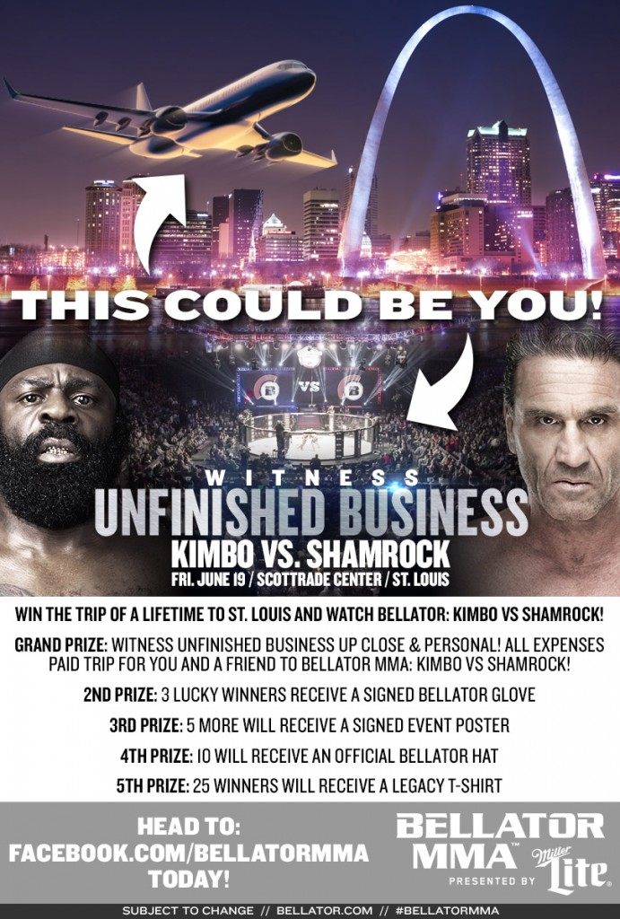 Win a trip to Bellator: Unfinished Business:  Shamrock vs Kimbo Slice