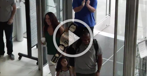 Watch as FOX headquarters welcomes home new champ, Daniel Cormier