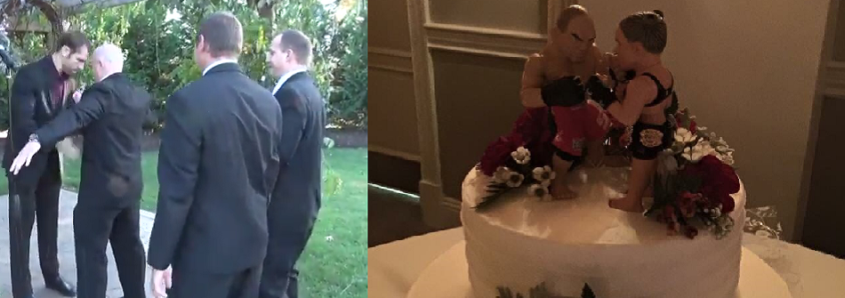 Fighter gets patted down, checked for mouthpiece, cup, before MMA Wedding