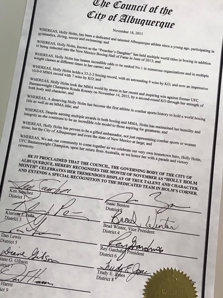 Holly Holm Parade Speech - Governor Declares Dec. 6 'Holly Holm Day'