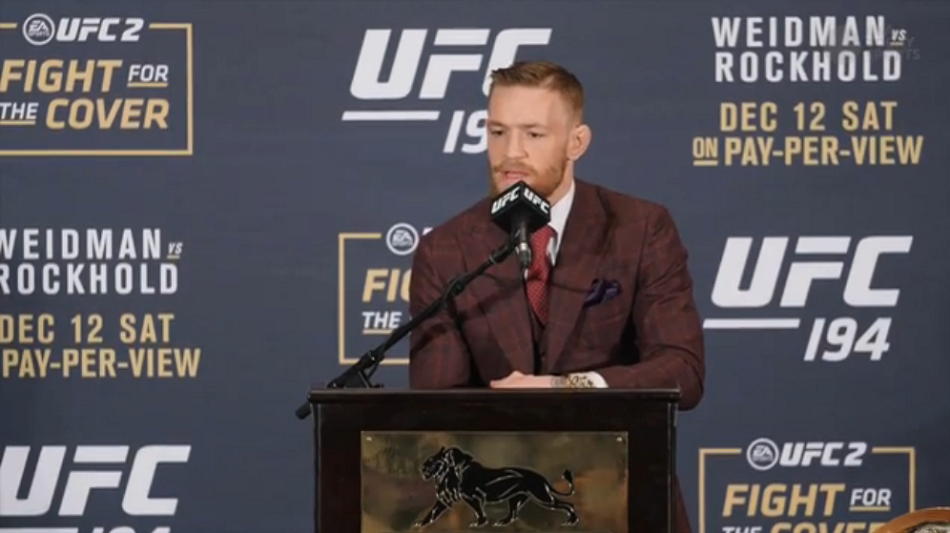 New champ Conor McGregor sends message to Jose Aldo post-fight