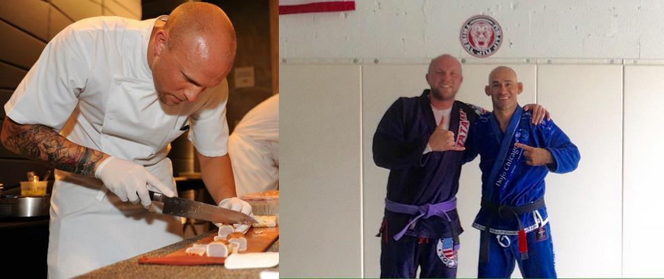 Top Chef competitor, BJJ purple belt, Jeremy Ford choking out competition