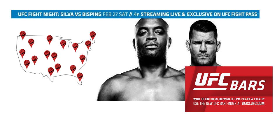 Want to Watch Silva-Bisping? Find a Bar Near You