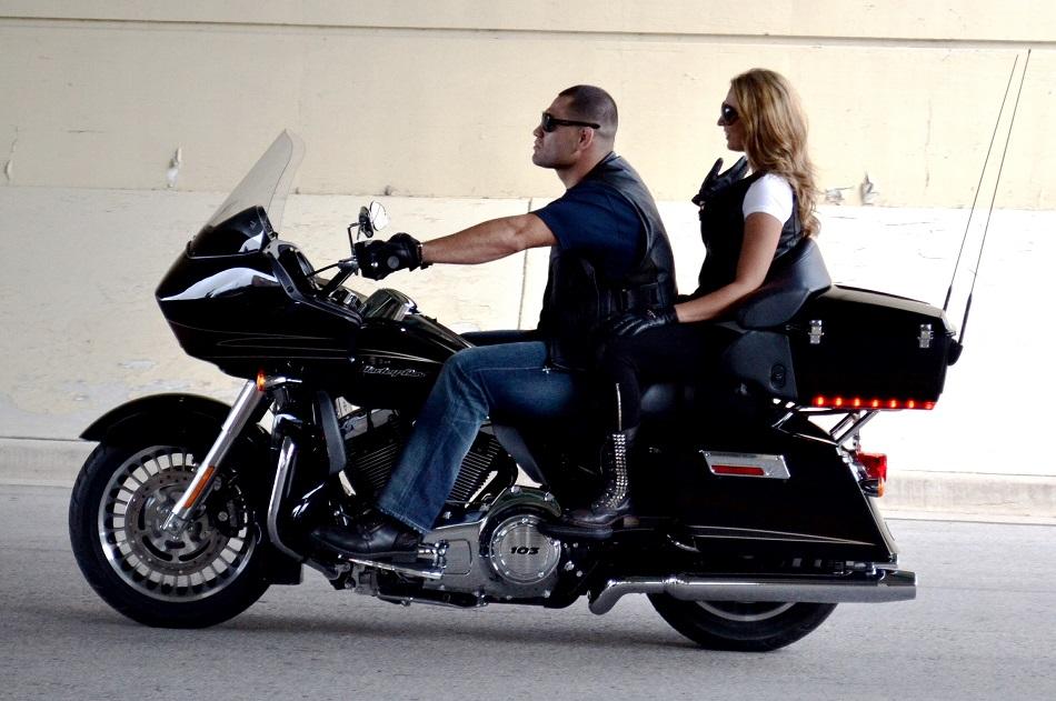 UFC heavyweight Cain Velasquez riding a Harley Davidson motorcyle