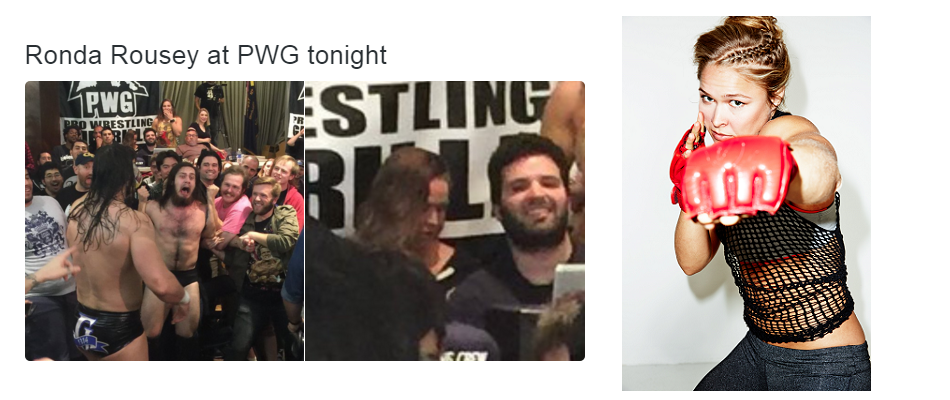 Ronda Rousey at pro wrestling event during UFC 196