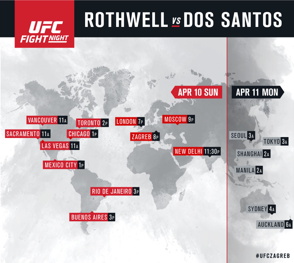 International broadcast listings for UFC Fight Night Zagreb