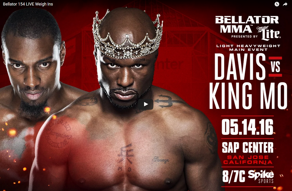 Watch Bellator 154 Weigh-Ins – Phil Davis vs King Mo – 8pm EST