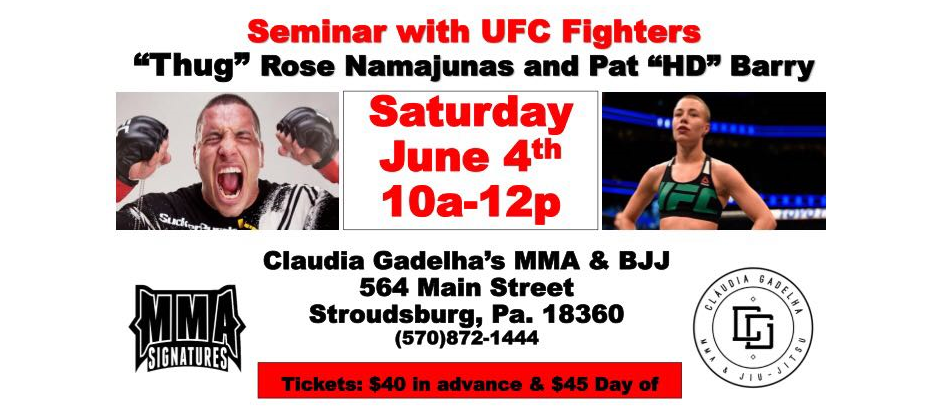 Rose Namajunas and Pat Barry to hold seminar in Stroudsburg