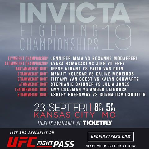 Invicta FC 19 Fight Card
