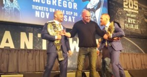 Conor McGregor and Eddie Alvarez square off at the UFC 205 Press Conference
