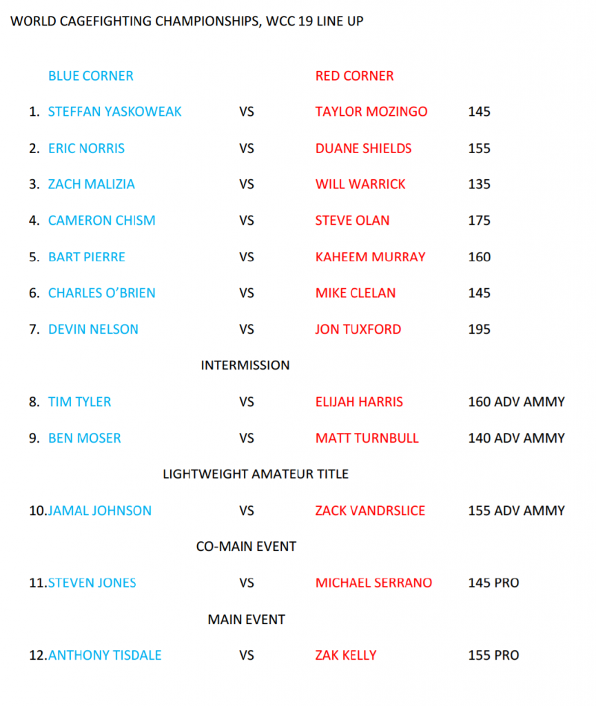 WCC 19 Fight Card