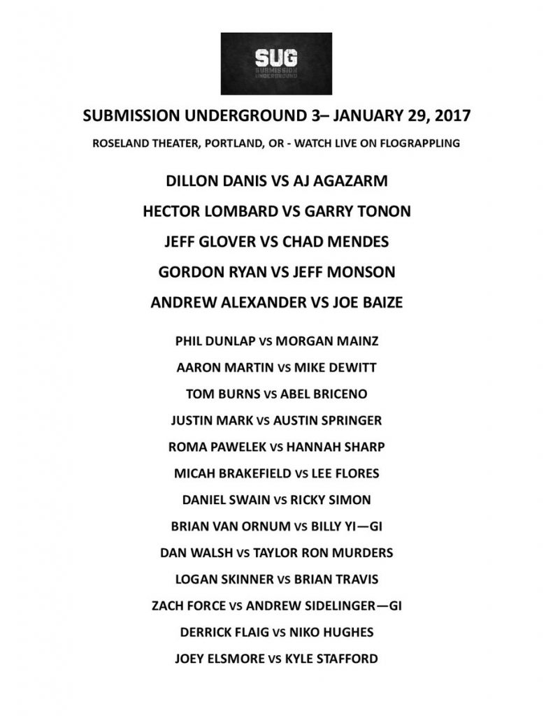 Submission Underground Grappling 3 lineup