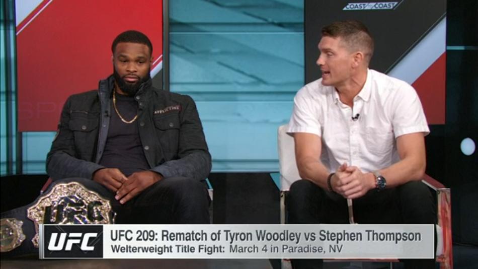 Tyron Woodley, Wonderboy Thompson at each other's throats on ESPN