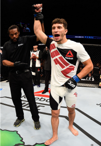 Frankie Perez victorious inside the UFC octagon