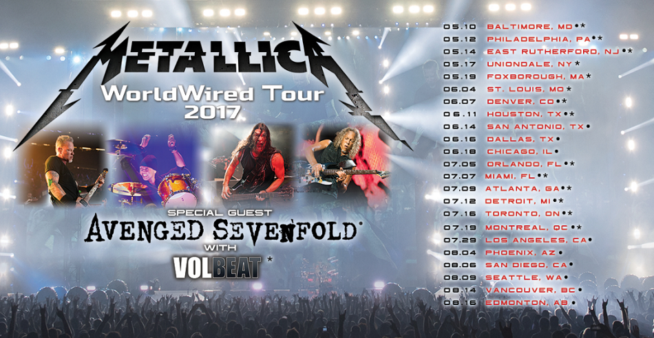 Get tickets to the Metallica, Avenged Sevenfold, Volbeat summer tour