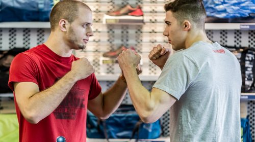 Tim Kunkel and Mike Trizano face off - Maverick MMA Open Workouts and Press Conference at Reebok Outlet
