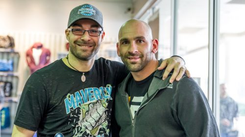 Maverick MMA promoter Willy Sisca (left) and UFC welterweight George Sullivan - Maverick MMA Open Workouts and Press Conference at Reebok Outlet