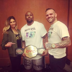 CFFC heavyweight champ Zu Anyanwu (center) and MPR Endurance MMA owner, Erik Purcell (right)