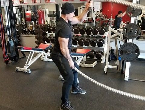 Mike Duffy doing alternating rope slams - Workout of the Week - The Bulldog