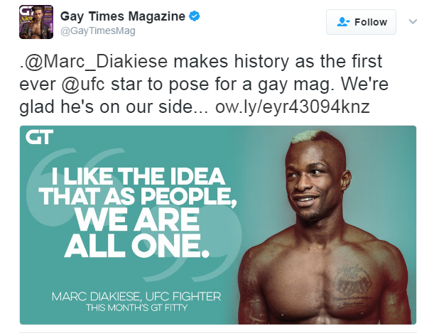 Marc Diakiese first UFC fighter to pose for Gay Times Magazine