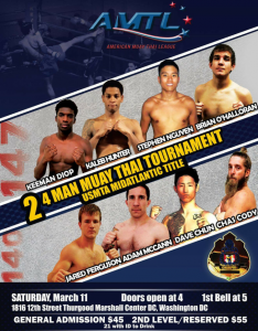 Two, Four man Title fight tournaments to kick off the 2017 American Muay Thai League season, March 11th