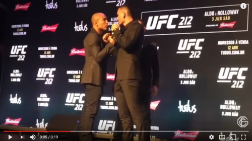 WATCH:  Max Holloway and Jose Aldo square off for Brazilian media