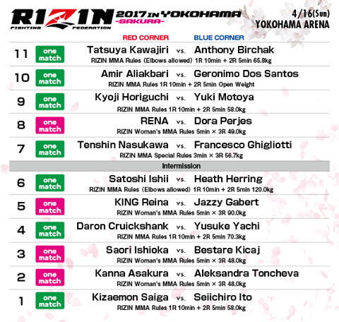 RIZIN 2017 from Yokohama fight card