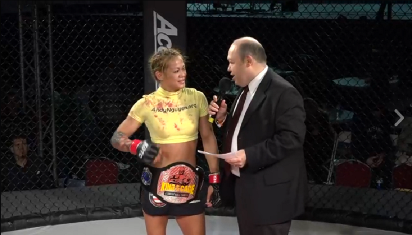 Andy Nguyen defends King of the Cage atomweight title in bloody scrap – Watch