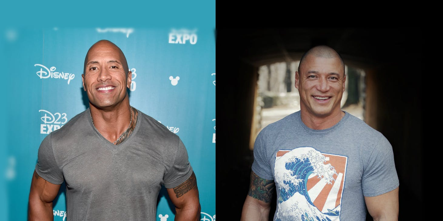 The Rock - Dwayne Johnson (left) and Myles Humphus (right)