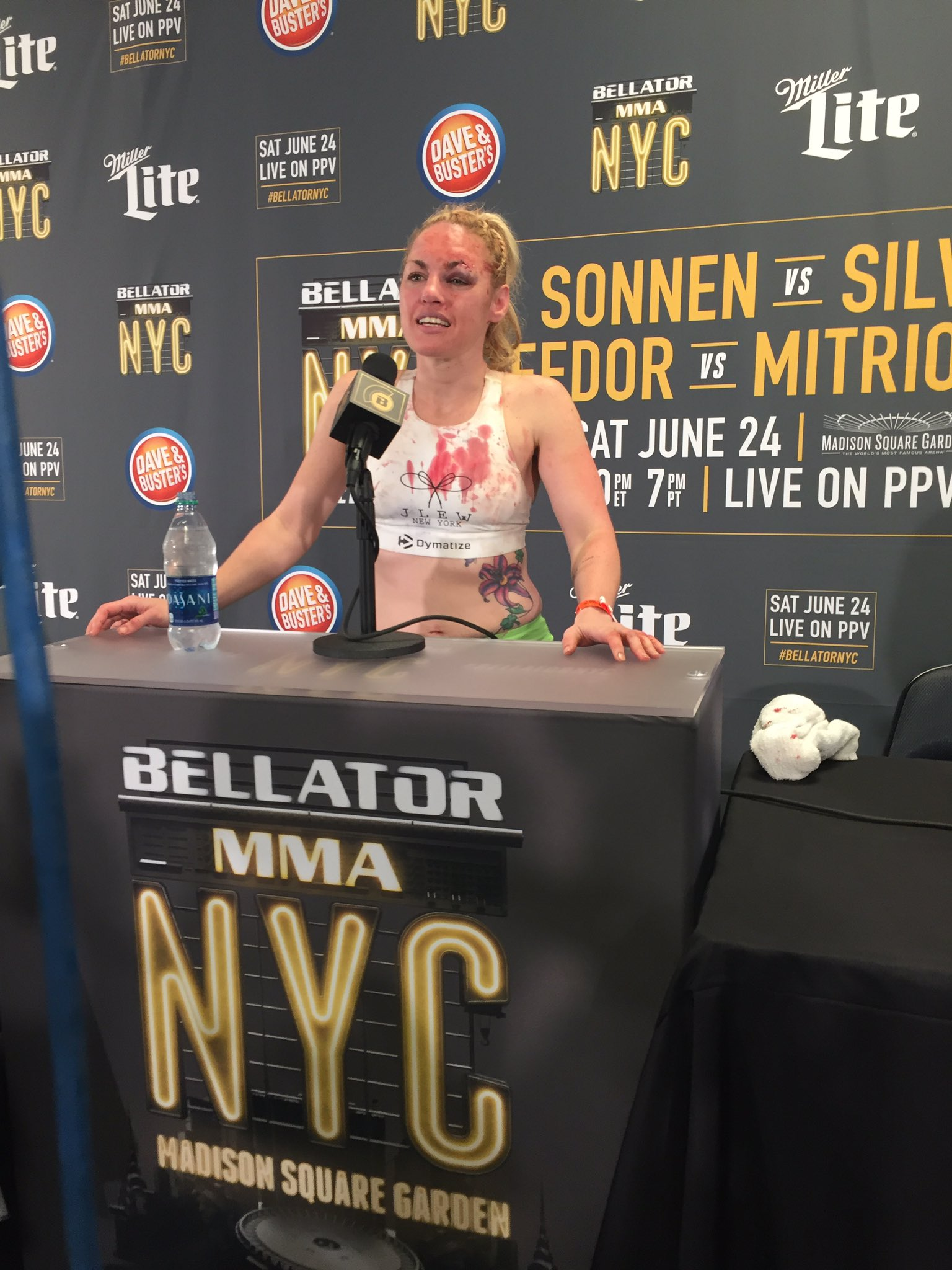 Heather Hardy backstage after Bellator 180 win