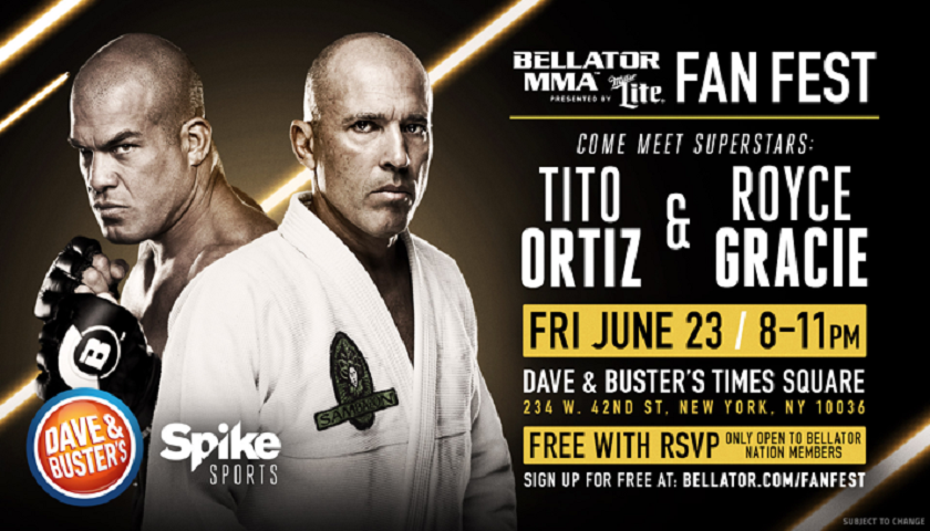 Meet Tito Ortiz and Royce Gracie at Dave & Buster's NYC on Friday