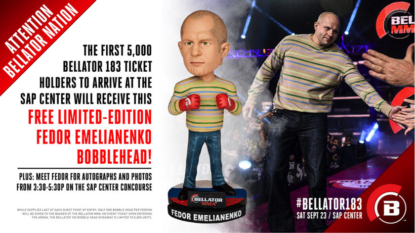 Bellator to Give Away Limited Edition Fedor Emelianenko Bobblehead on Sept. 23