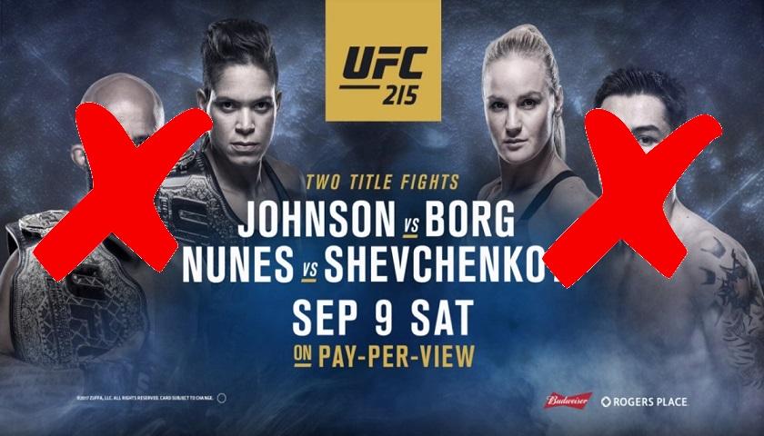 UFC 215 main event cancelled, statement issued on behalf of organization