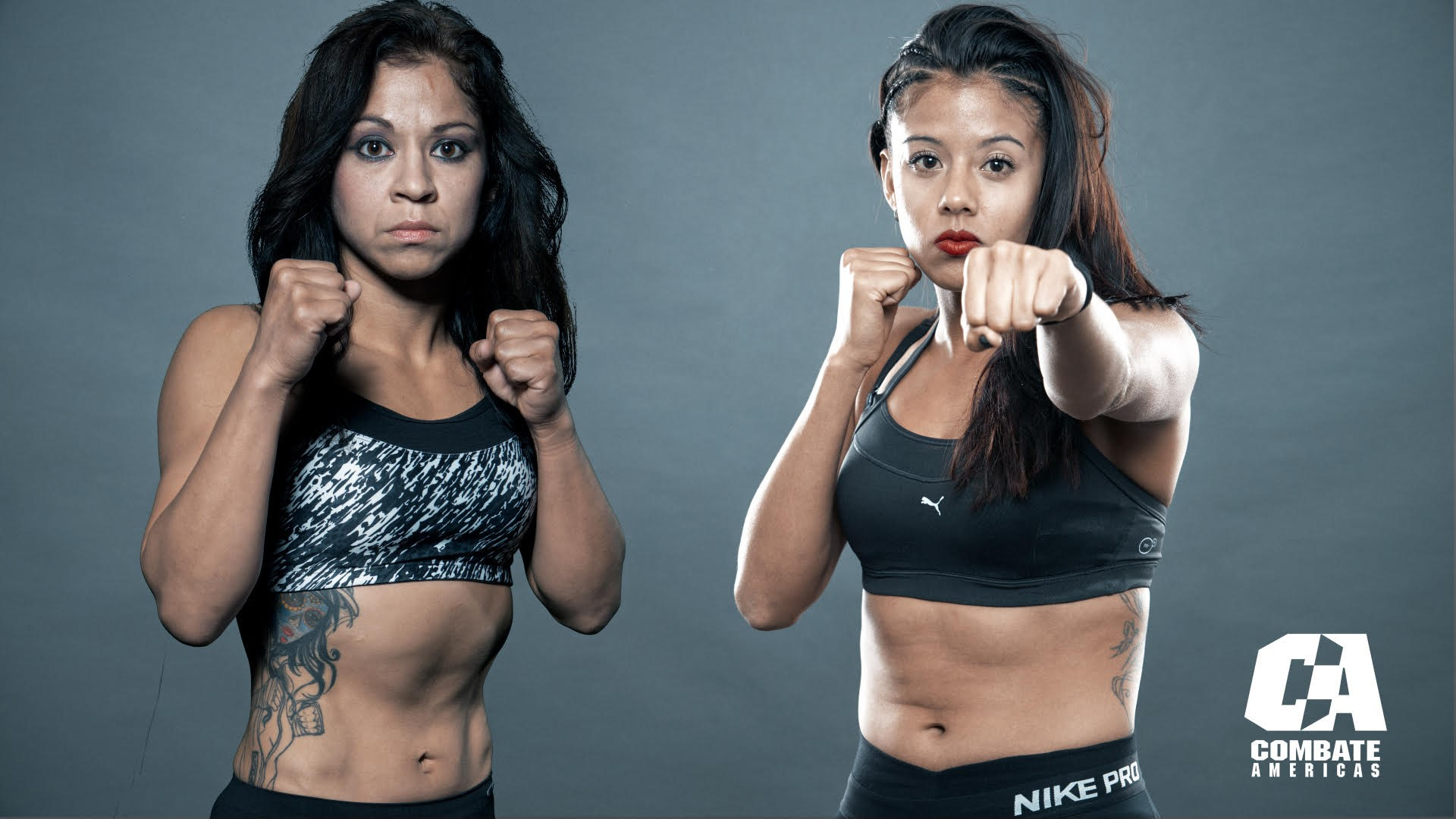 "Sheila Padilla (left) will square off with Lisbeth Lopez Silva (right) in an atomweight (105 pounds) preliminary bout at ""COPA COMBATE"" on Saturday, Nov. 11. Photo credit: Combate Americas, LLC"