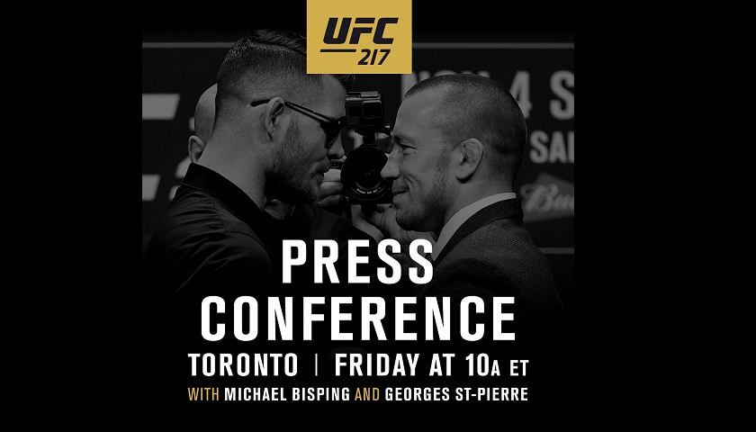 WATCH:  UFC 217: Bisping vs St-Pierre Press Conference – 10 A.M EST