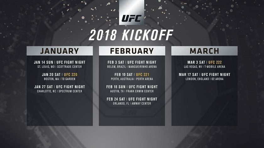UFC event schedule announced for first quarter of 2018
