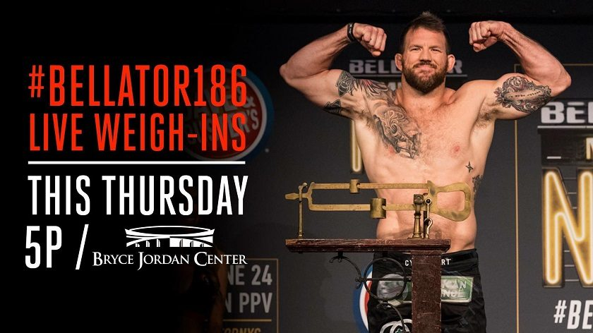 Bellator 186 weigh-in results and ceremonial video stream from Penn State