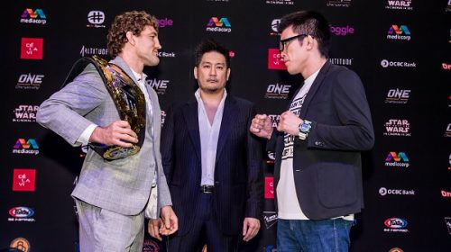 Ben Askren faces off with Shinya Aoki at ONE: Immortal Pursuit kickoff press conference