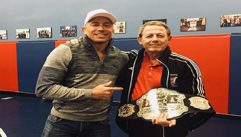 Georges St-Pierre gives away new UFC middleweight championship belt