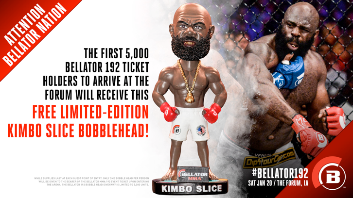 Kimbo bobblehead give away at Bellator 192, Jan. 20 in Los Angeles