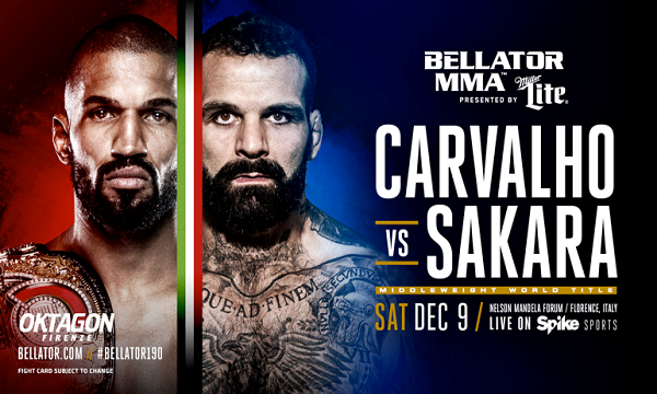 Alessio Sakara vs. Rafael Carvalho for middleweight title at Bellator 190