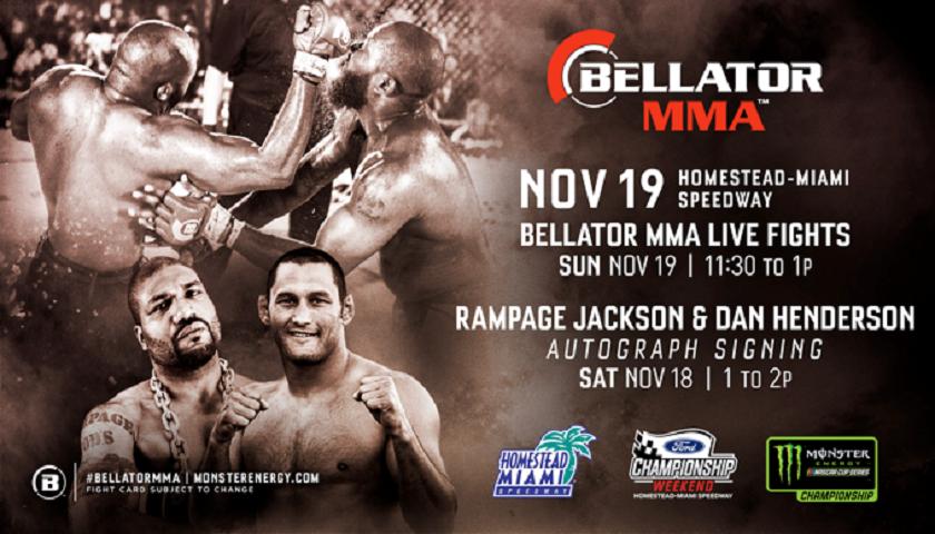 Monster Energy Bellator MMA Fight Series Heads to Homestead-Miami Speedway on Nov. 19