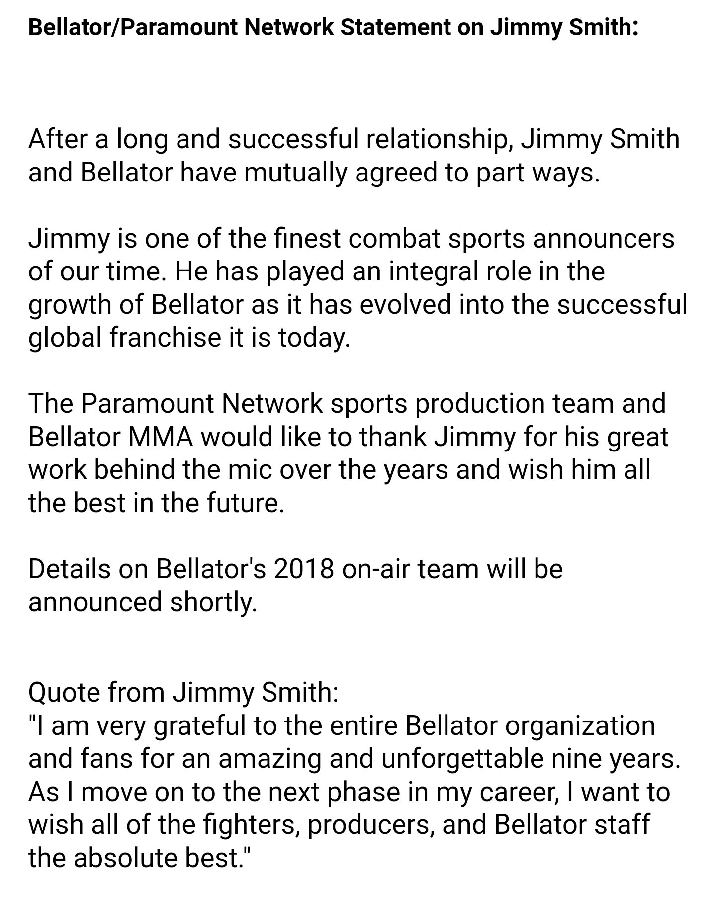Bellator MMA parts ways with commentator Jimmy Smith
