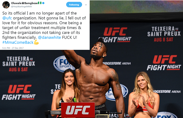 Oluwale Bamgbose released from UFC, goes on Twitter tirade