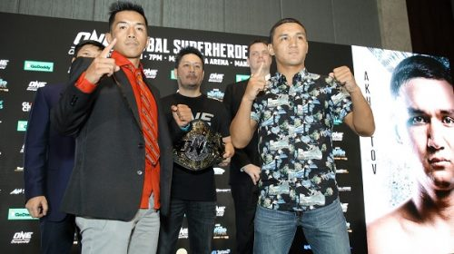 Geje Eustaquio and Kairat Akhmetov face-off at ONE: Global Superheroes official kick-off press conference