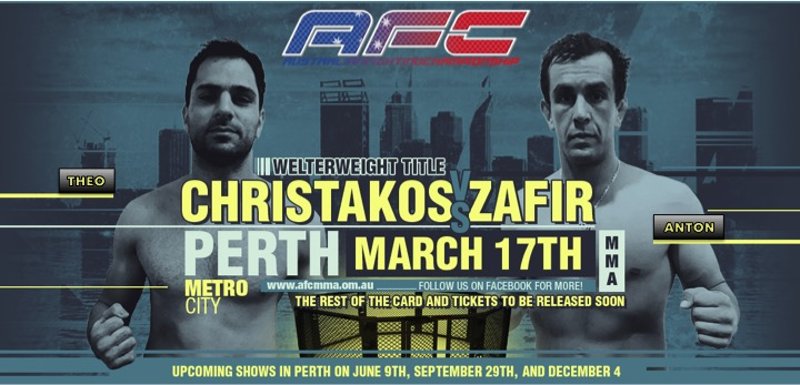 Anton Zafir vs. Theo Christakos for the AFC Welterweight Title in Perth